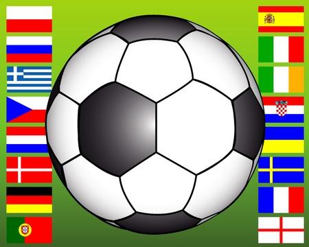 european championship: soccer ball on the background of flags of European Championship