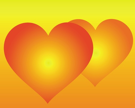 two hearts: two hearts on an orange background