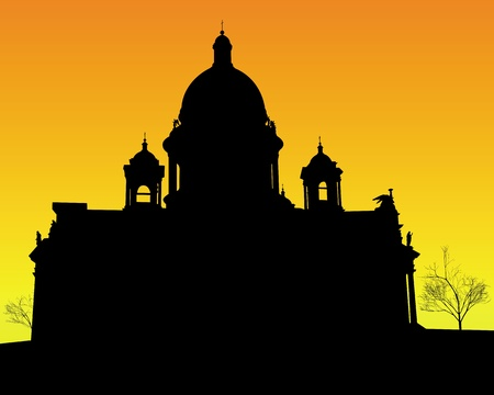 petersburg: black silhouette of St. Isaacs Cathedral in St Petersburg on an orange background