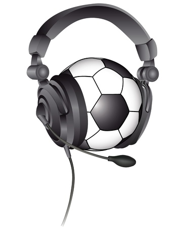 soccer ball in the headphones with a microphone on a white background Illustration