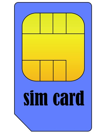 sim card: SIM card for mobile phone on white background Illustration