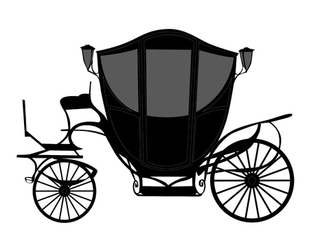 brougham: black silhouette brougham on a white background  Illustration