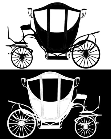 brougham: black silhouettes brougham on white and black background Illustration