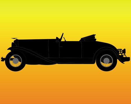 black silhouette of an old convertible on an orange background Stock Vector - 12817175