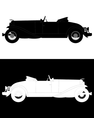 black and white silhouettes of an old convertible on a white and black backgrounds Stock Vector - 12817177