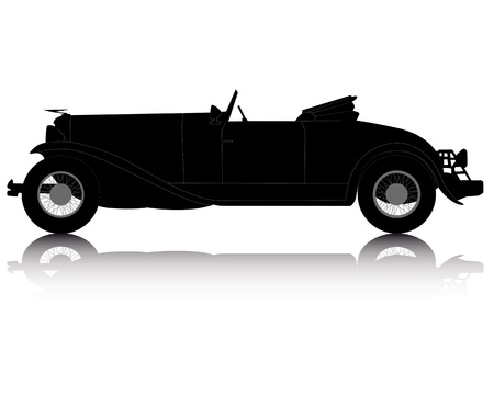 roadster: black silhouette of an old convertible on an white background