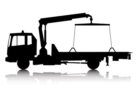 tow: black silhouette of a tow truck on a white background