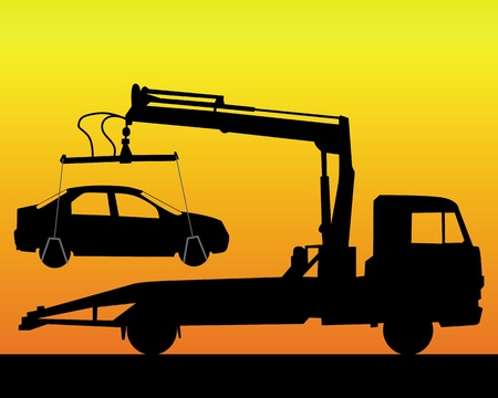tow truck: black silhouette of a tow truck on a orange background