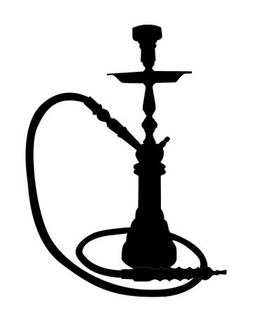 narghil�: silhouette nera di un narghil� su uno sfondo bianco