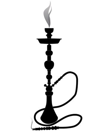 tobacco product: black silhouette of a hookah on a white background Illustration