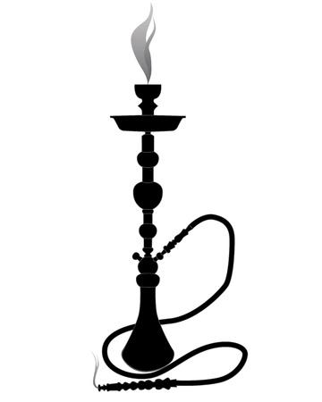 pijp roken: zwart silhouet van een waterpijp op een witte achtergrond