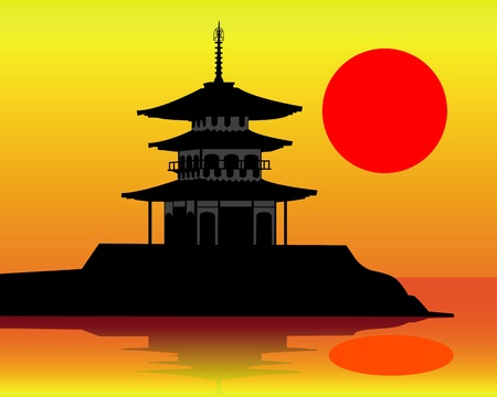 silhouette of a pagoda on an orange background Vector