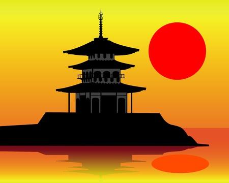 silueta de una pagoda sobre un fondo naranja