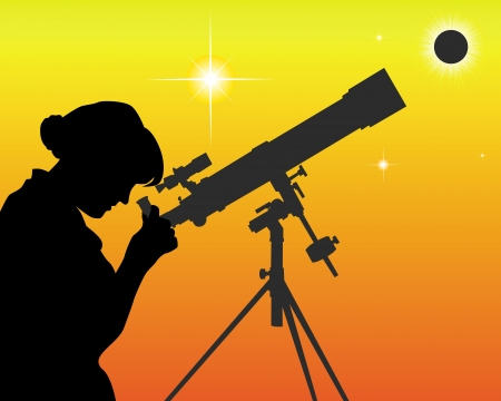 astronomer: silhouette of an astronomer with a telescope on an orange background
