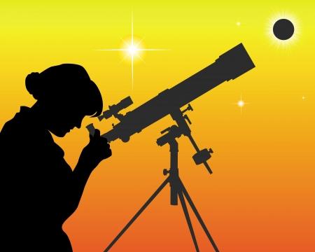 silueta de un astrónomo con un telescopio sobre un fondo naranja