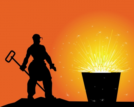 iron ore: black silhouette of a steelworker on an orange background