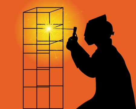 black silhouette of a welder on an orange background