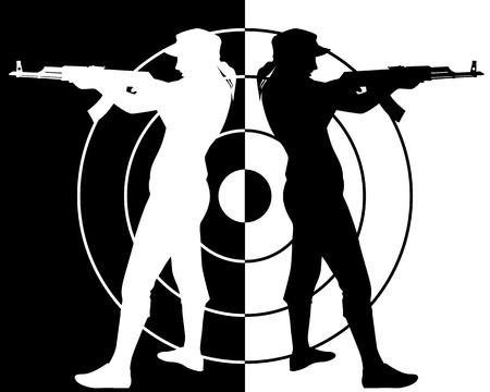gun silhouette: black and white silhouette of the Kalashnikov assault rifle shooter Illustration