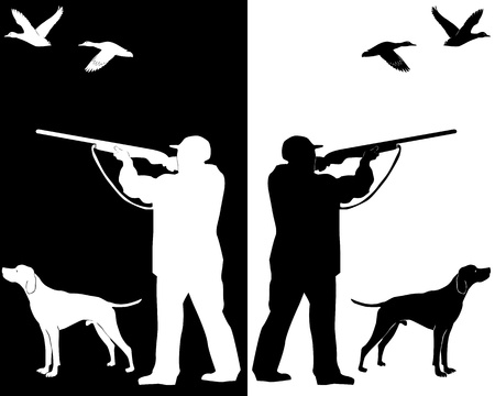 silhouettes hunter with a dog on a white background and black