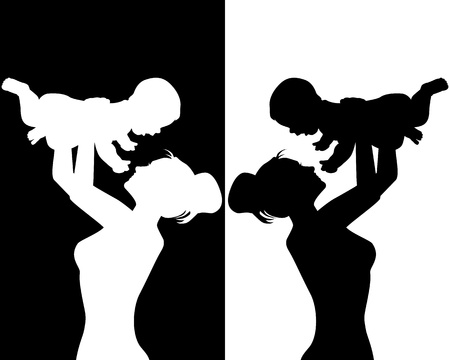 affectionate: black and white silhouettes of mother and child
