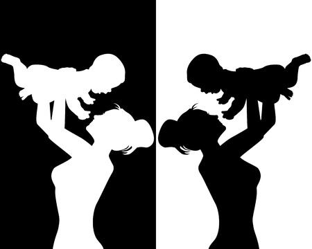 kind silhouet: zwart-wit silhouetten van moeder en kind Stock Illustratie