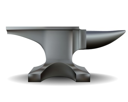 anvil: blacksmith anvil in shades of gray on a white background Illustration
