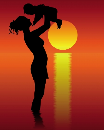Silhouette of mother and child standing in water on a red-orange background