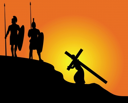 good friday: black silhouettes of soldiers carrying the cross and on an orange background