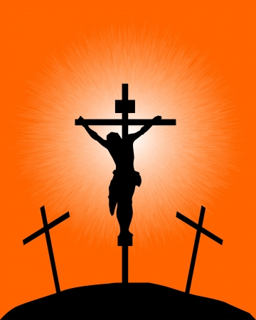 crucifixion: black silhouette of a crucifix on the orange background Illustration