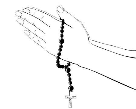 rosary: drawing hands with a rosary on a white background