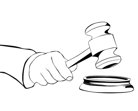 drawing hand with judicial hammer on a white background Иллюстрация