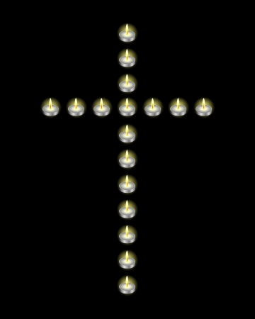 awaken: Cross laid out candles on a black background