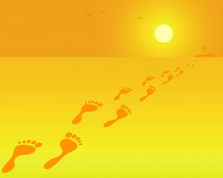 footprints on an orange background Banco de Imagens - 19150997