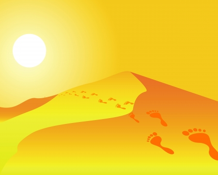 footprints in sand: footprints on the dunes under the scorching sun Illustration