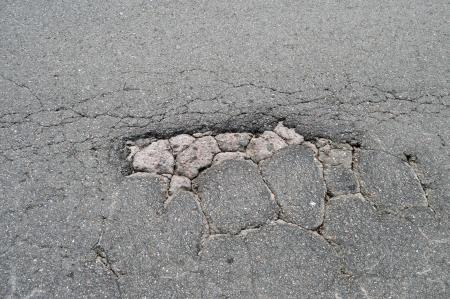 pothole: pothole on the pavement Stock Photo