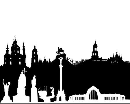 black and white silhouette of Kyiv on a white background Ilustração