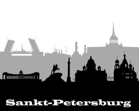 白い背景の上のサンクト ・ ペテルブルクの黒と灰色のシルエット