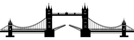 london bridge: black silhouette of a drawbridge on a white background