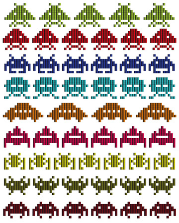 space invaders: colored silhouettes of Space Invaders on a white background