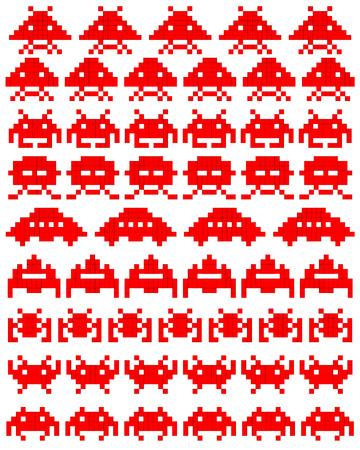 invaders: Red siluetas de invasores del espacio sobre un fondo blanco