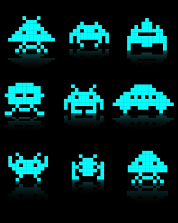 space invaders: blue silhouettes of Space Invaders on a black background