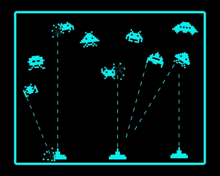 space invaders: attack of space invaders on a black background
