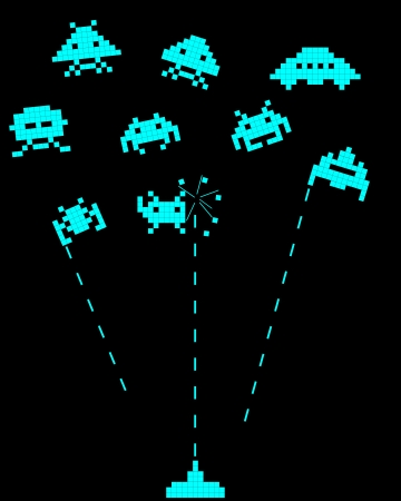 battle with space invaders on a black background Vector