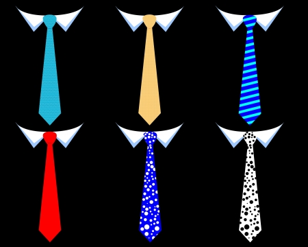 colored mens ties on a black background