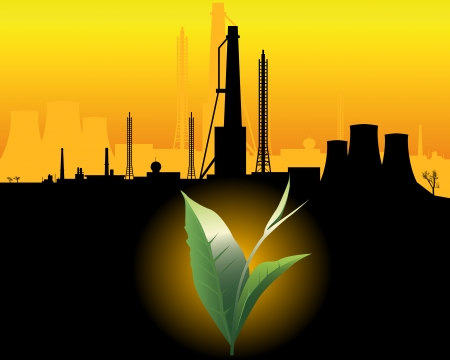chemical industry: green sprout with a black silhouette of industrial buildings on an orange
