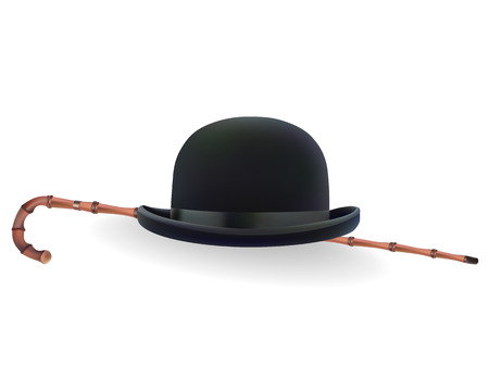 aristocrat: bowler hat and bamboo cane on a white background