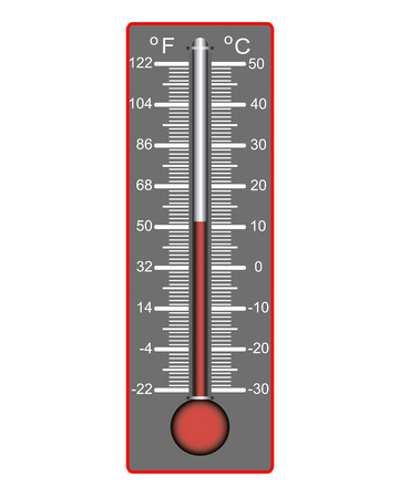 hotter: thermometer to measure the temperature on a white  Illustration