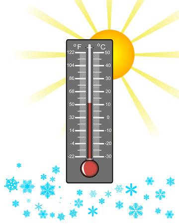 hotter: thermometer weather with snow and sun on a white