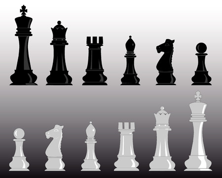 white and black chess pieces on a gray background