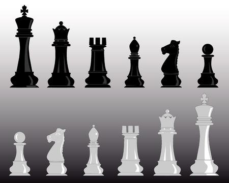 witte en zwarte schaakstukken op een grijze achtergrond